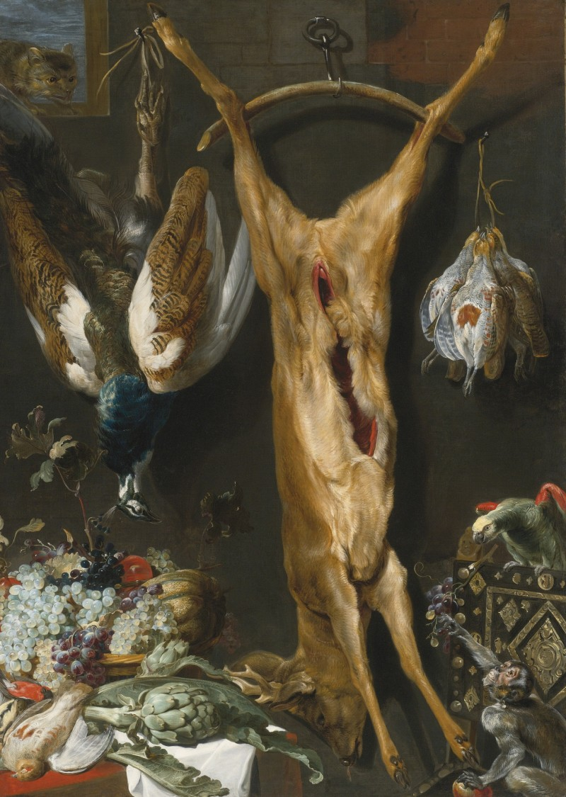 Studio_of_Frans_Snyders_Still_Life_of_Artichokes_Grapes_and_a_Melon_In_a_Basket_a_Hung_Peacock.jpg