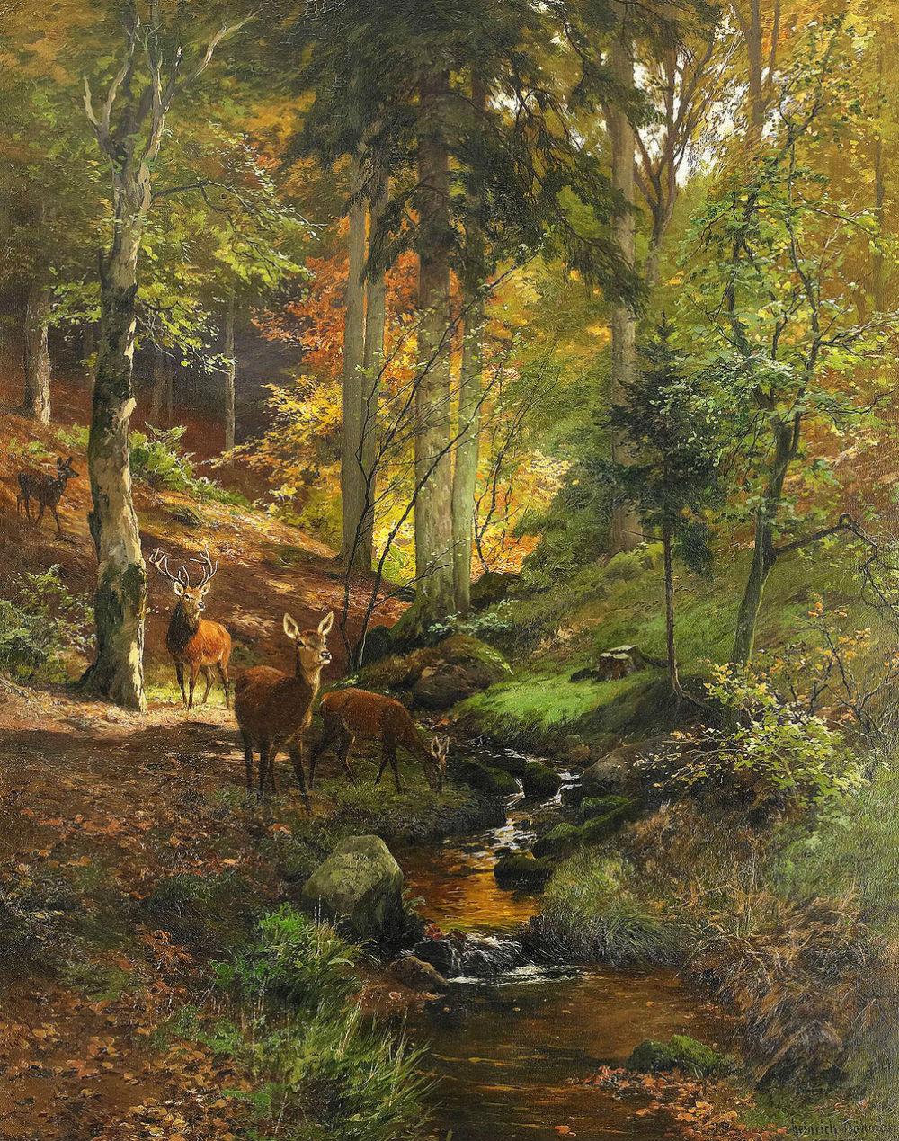 2-Heinrich-Bohmer-Hjortar-i-skogslandskap.jpg